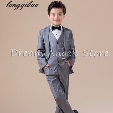5pcs High quality 2017 new fashion baby boys kids blazers boy suit for weddings prom formal Silvery gray dress wedding boy suits kimocat boy and girl high quality spring autumn children s cowboy suit version of the big boy cherry embroidery jeans two suits