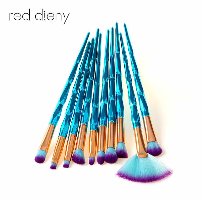 Diamond Blue Makeup Brush Set Mermaid Fishtail Shaped Foundation fan Powder Cosmetics Brushes Rainbow Eyeshadow Brush Kit