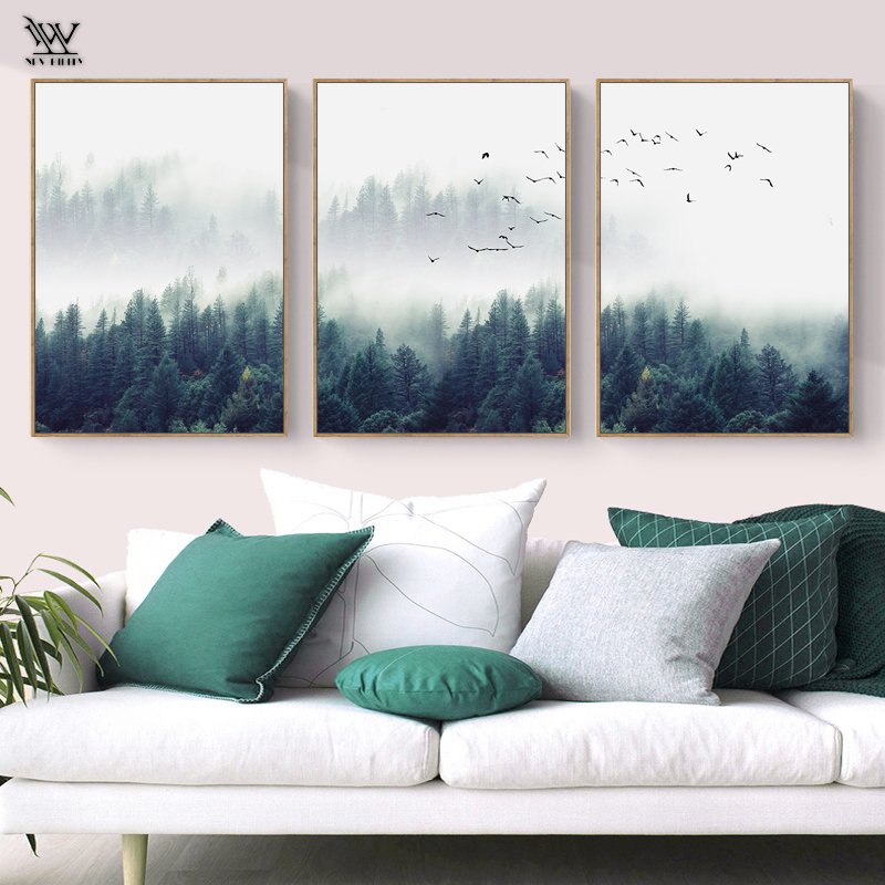Canvas Painting Posters Wall-Picture Lanscape Forest Prints Living-Room Home-Decoration