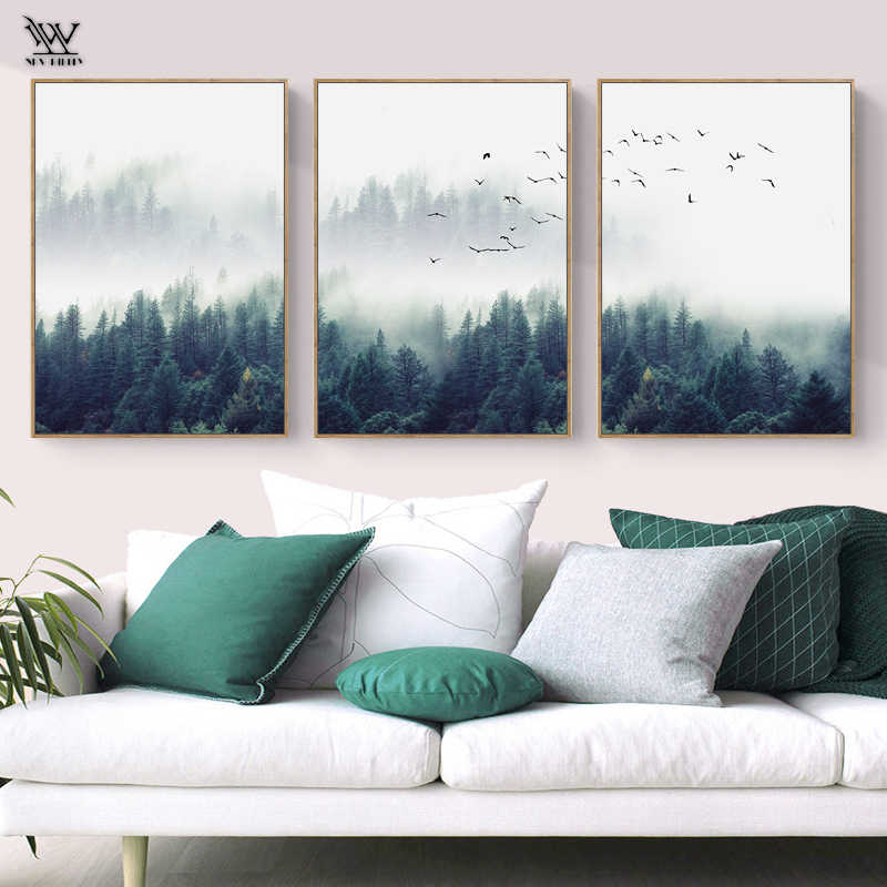 Posters and Prints Forest Lanscape Wall Art Canvas Painting Modern Black Wall Picture for Living Room Vintage Home Decoration