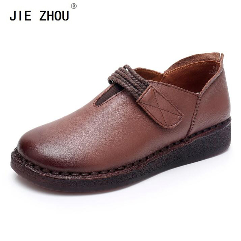 Nouveauté chaussures plates confortables pour femmes mocassins à fond épais chaussures rétro faites à la main en cuir véritable chaussures décontractées plates