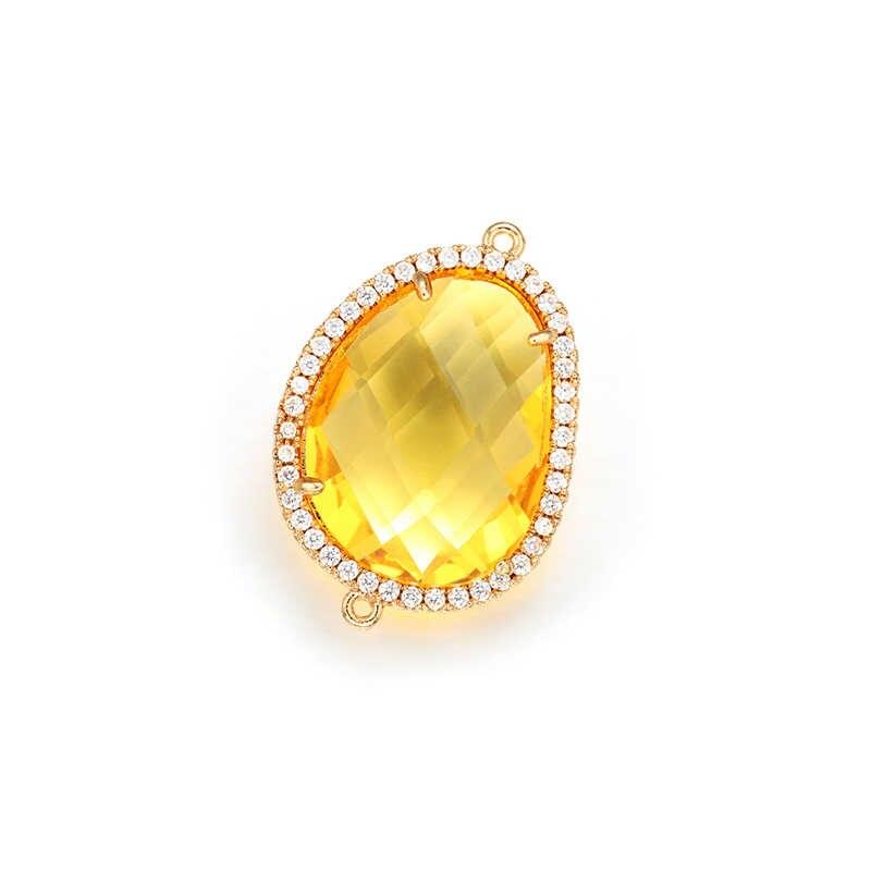Zhukou 19X27 Mm Kuningan Cubic Zirconia Irregular Crystal Konektor untuk Buatan Tangan Perhiasan Pembuatan Temuan Model: VS343