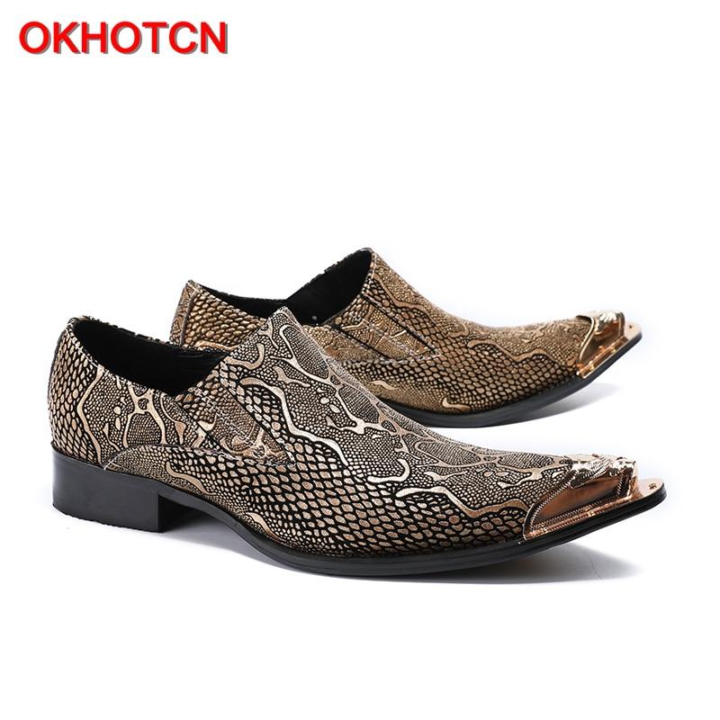 OKHOTCN nouveauté offre spéciale homme chaussures formelles en cuir véritable point de métal Python texture homme d'affaires robe de soirée chaussures de mariage - 3