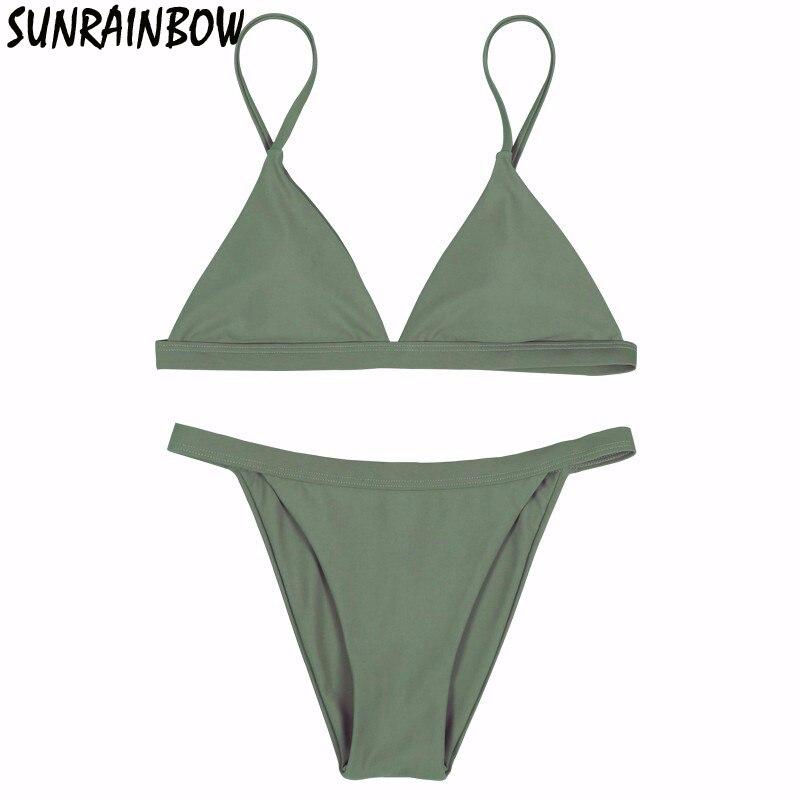 SUNRAINBOW 2017 New Sexy Micro Bikinis Women Swimsuit Swimwear Halter Brazilian Bikini Set Beach Bathing Suits