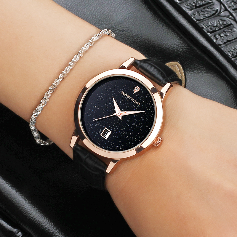 SANDA Female Wrist Watch Women's 2018 Fashion jewelry brand Clock Ladies Leather Quartz Watch Montre Femme Relogio Feminino Hot understanding and using english grammar student s book with answer key 2 cd