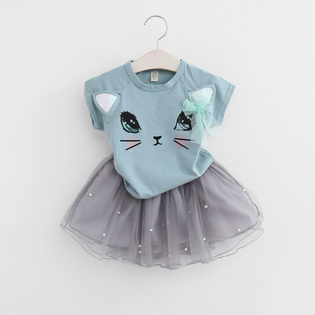Girls 2019 Summer New Baby Girls Clothing Sets Fashion Style Cartoon Kitten Printed T-Shirts+Net Veil Dress 2Pcs Girls Clothes 3