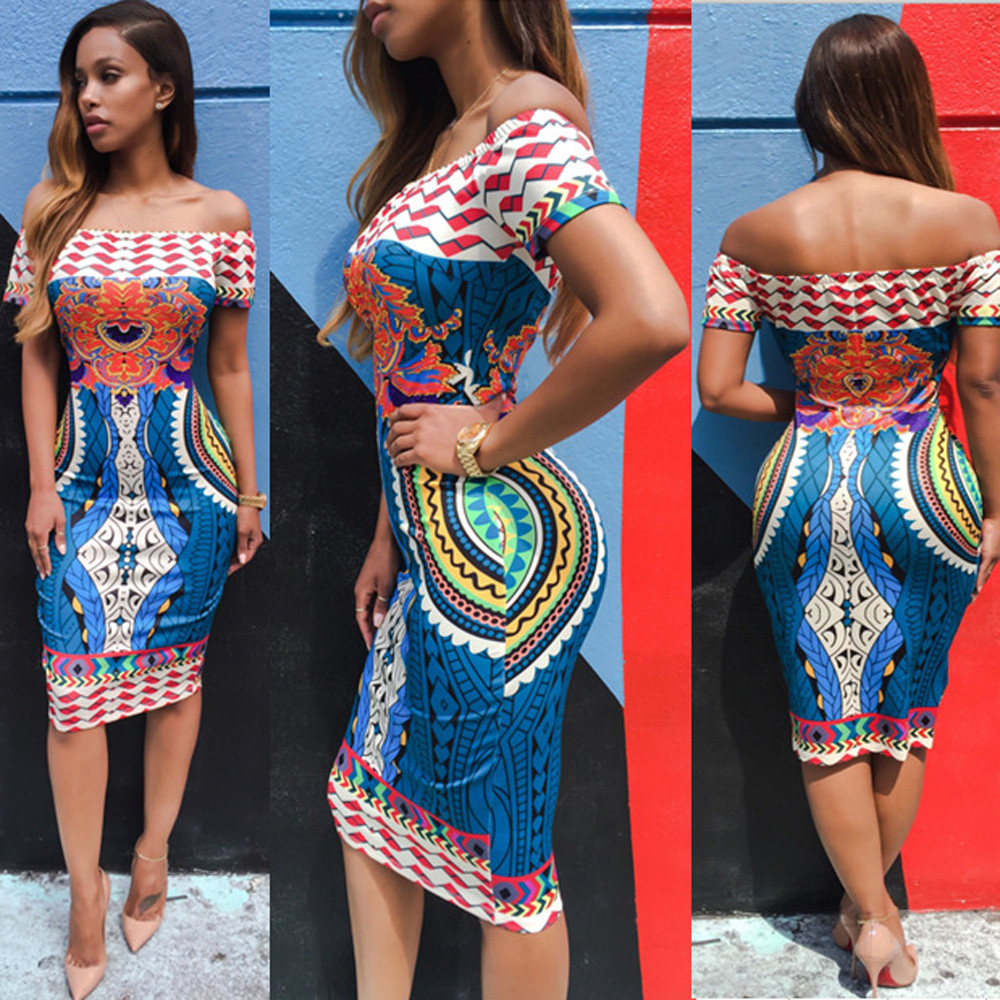 Summer 2017 Sexy Women Traditional African Print Dashiki Bodycon Sexy Short Sleeve Bodycon Club Party Dress summer casual bodycon dresses