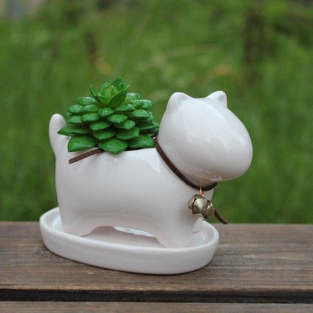 Small White Plant Pots Part - 36: Cute Cartoon Animal Small White Ceramic Flowerpot Puppy Shape Pottrey  Succulent Planter Pot Desktop Decor Home