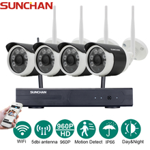 SUNCHAN 4Channel HD 4CH NVR 960P Wireless CCTV System Outdoor Day Night Vision Security Camera Home WIFI Surveillance Kit(China)