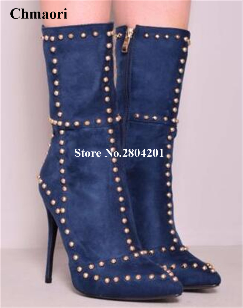 Woman Spring/Autumn Rivets Ankle Boots Pointed Toe Thin High Heels Shoes Rivets Zipper Metal Buckle Boots Mid-Calf Shoes Women 2018 new fashion spring autumn genuine leather motorcycle boots shoes woman pointed toe ankle boots chunky mid heels women shoes