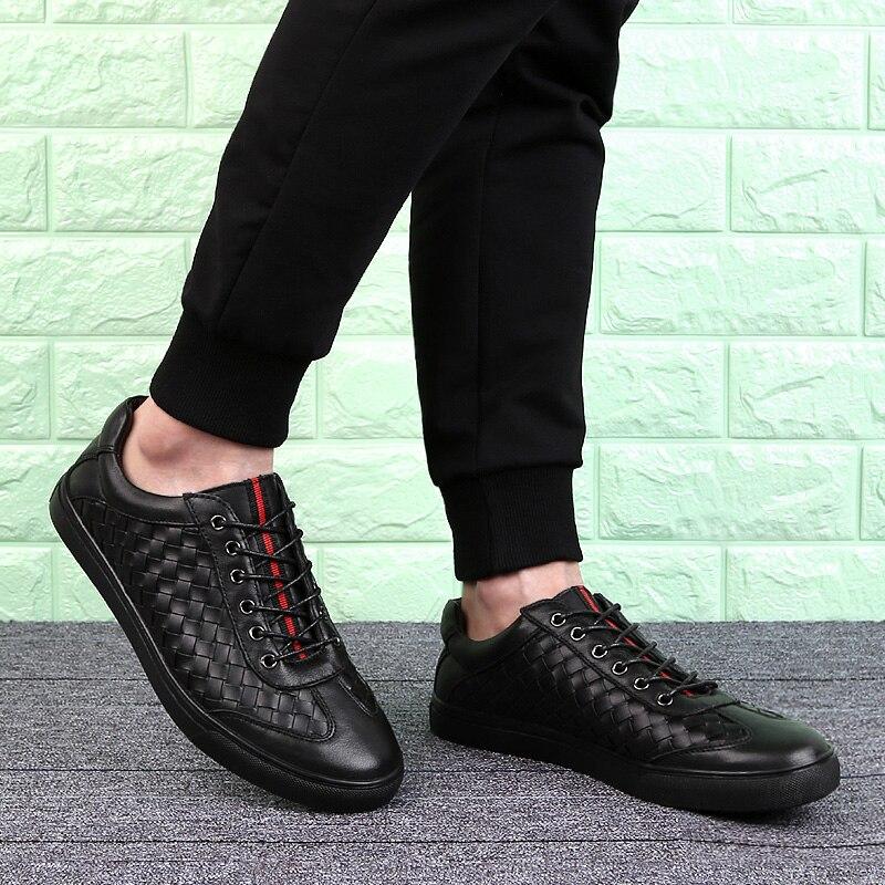Hombres Zapatos De Skate A Caliente Casual Deporte Plus 47 Hechos Transpirable Cuero Zapatillas Genuino Encaje 38 Black Mano Tamaño Los Moda xAddqIf