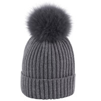 Novelty Yarn   Beanie   Fox Fur Pompom Hat Ladies Kintted Winter Hats Women Stylish   Skullies     Beanies   Cap Female Soft Thick Warm Caps
