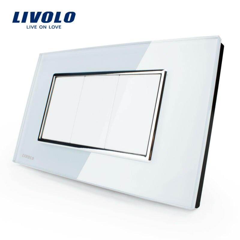 Painel de Vidro Livolo Padrão DOS EUA, Tudo Em Branco Chave, sem função de interruptor, VL-C300-81, Painel de Vidro Cristal Branco