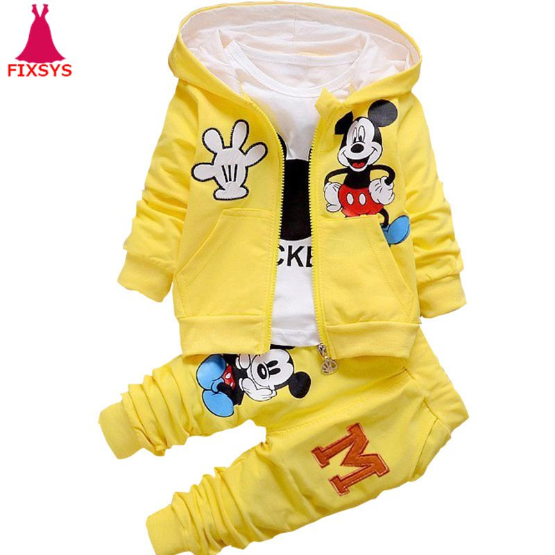 New Child Boys Garments Set Minnie Mickey Cartoon Children Women Tracksuit Clothes Fits Autumn 3Pcs Units Hooded Coat Toddler 0-4T Clothes Units, Low cost Clothes Units, New Child Boys...