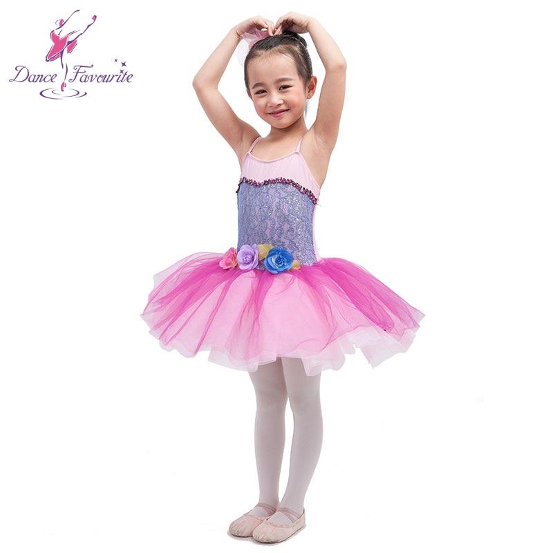 Dance Favourite pink spandex bodice with lace child ballet tutu, girl stage performance ballet tutu Ballerina Dance Tutu
