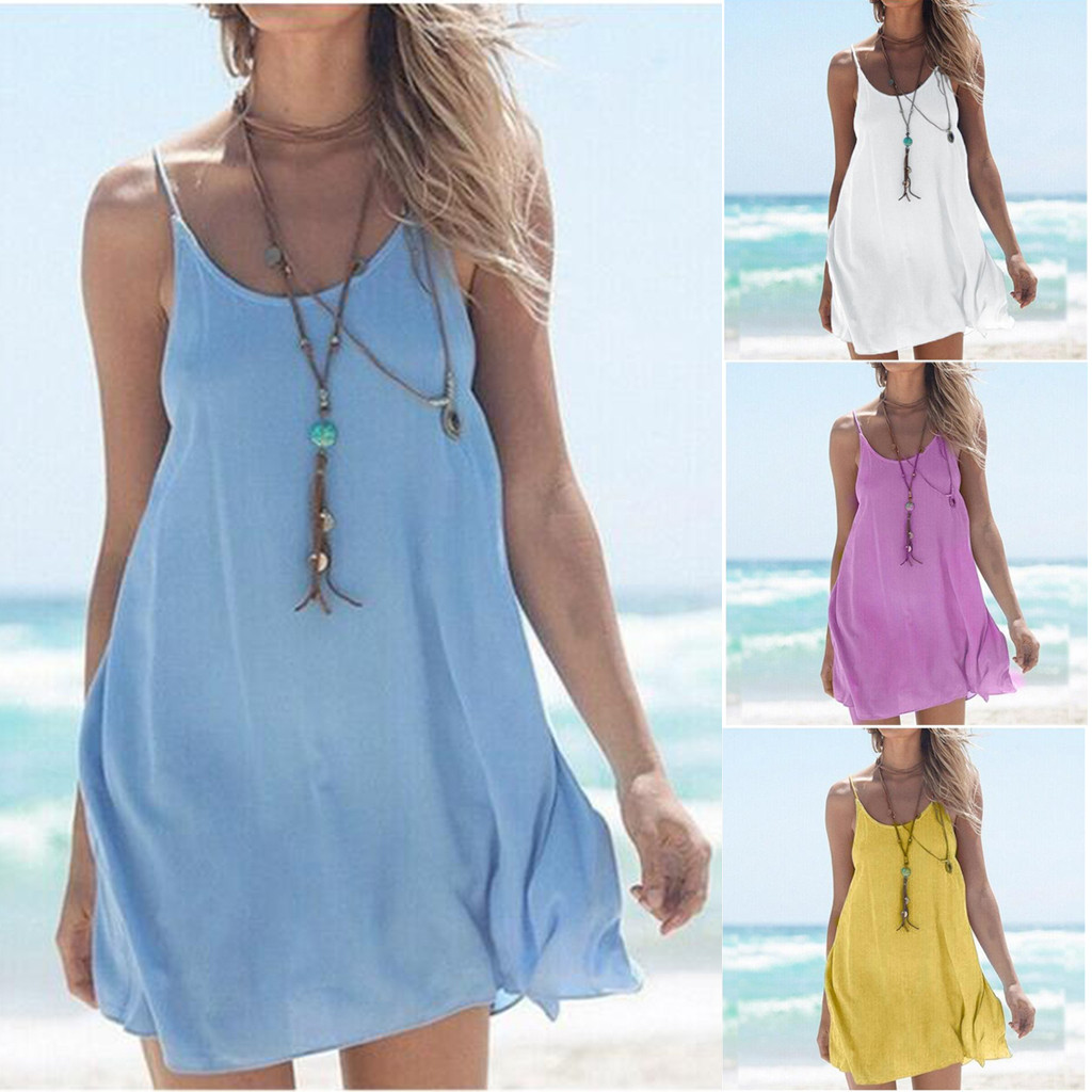 Cotton Linen Fashion Summer Solid Strap Short Mini Dress Loose Dress Sundress Women's Casual Beach Party Dress Vestido de festa