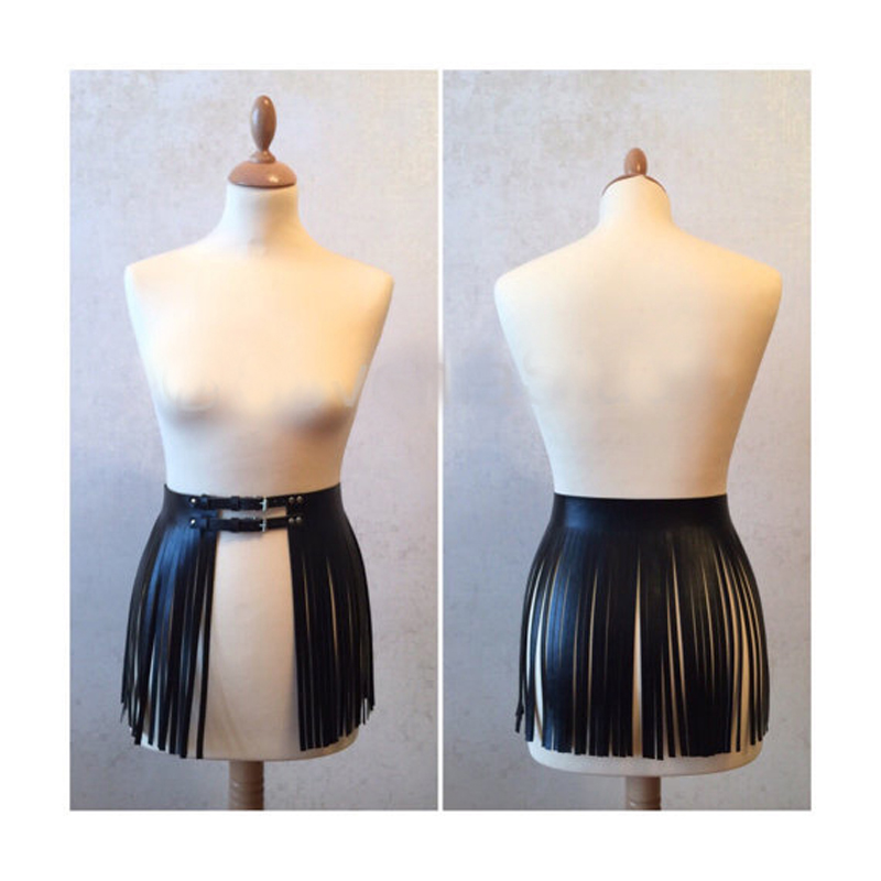 Fashion Design Black White Faux Leather Fringe Tassels Belt Women Waist Skirt Adjustable Waistband Buckle Belt Dancing Clubwear