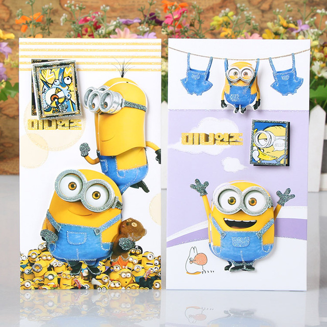 Aliexpress Buy 8pcslot diy cute Minions Greeting Cards 3d – Flash Greeting Cards for Birthday