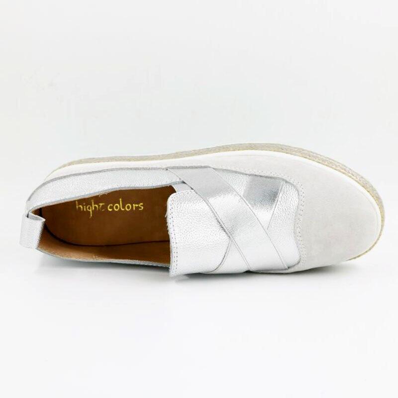 Plates sliver Mat Coréenne Designer La Chaussures Cuir Or Occasionnels Paille Épaisse Femelle Slip Pédale Mocassins Rond En sur Fond Marque Ruban À Gold BS4ZqwS