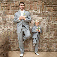 Latest Designs Grey Men Suits for Wedding Boys Child Wear Custom Groom Tuxedos Terno Masculino 3Pieces Costume Homme
