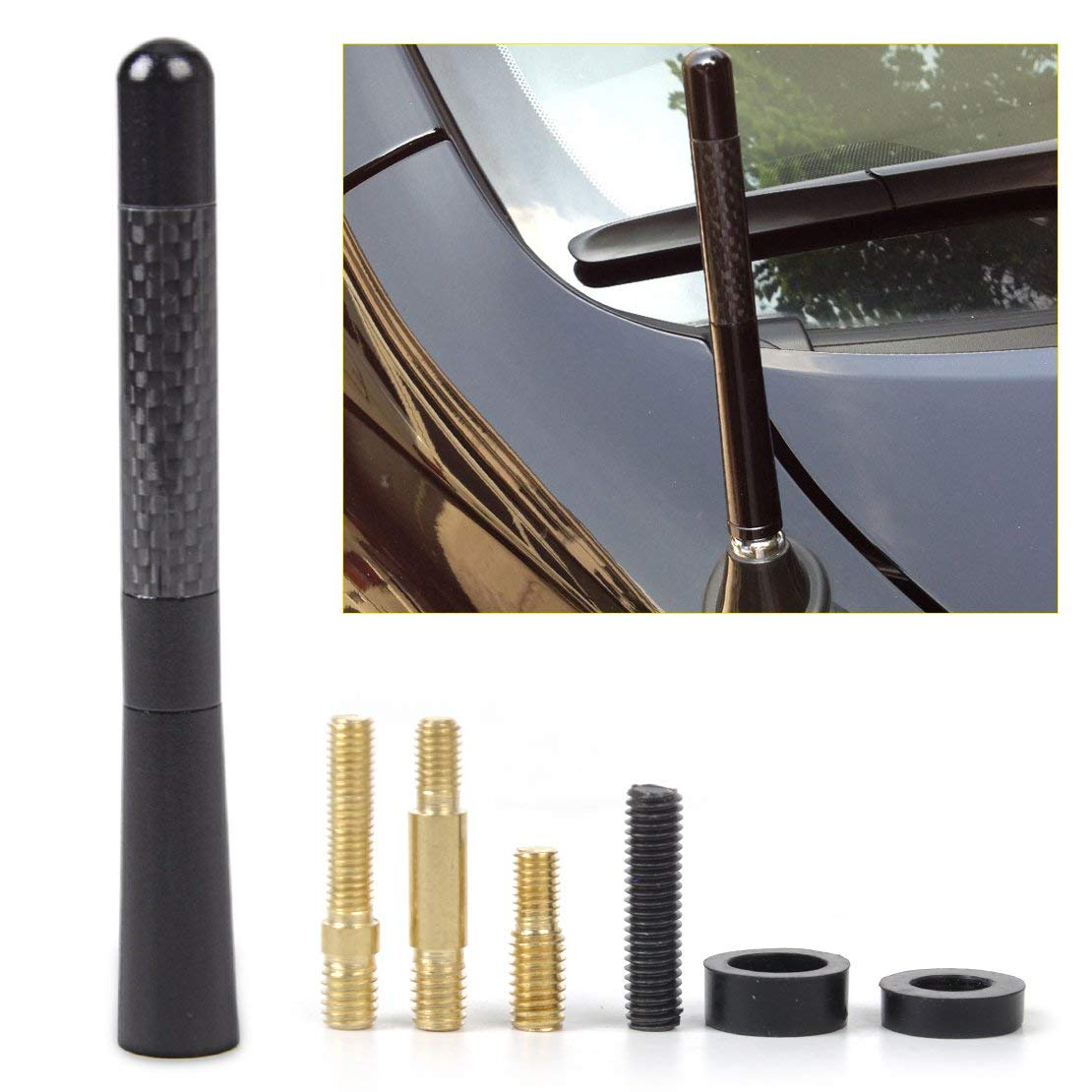 Screw New 4.7inch Universal Car Antenna Carbon Fiber Radio FM Antena Black Kit