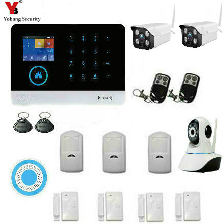 YobangSecurity IOS Android APP Control WIFI GSM Burglar Alarm System Touch Keypad House Alarm System Outdoor Indoor IP Camera in Alarm System Kits from Security Protection