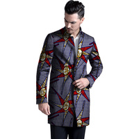 Personal Tailor Stand Collar Popular Dashiki Handsome Men African Print Long Trench Mens Custom Africa Clothes