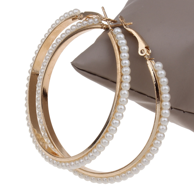 55mm 1 Pair Big Round Loop Circle Gold-color Hoop Earring Punk Rock Wedding Desi