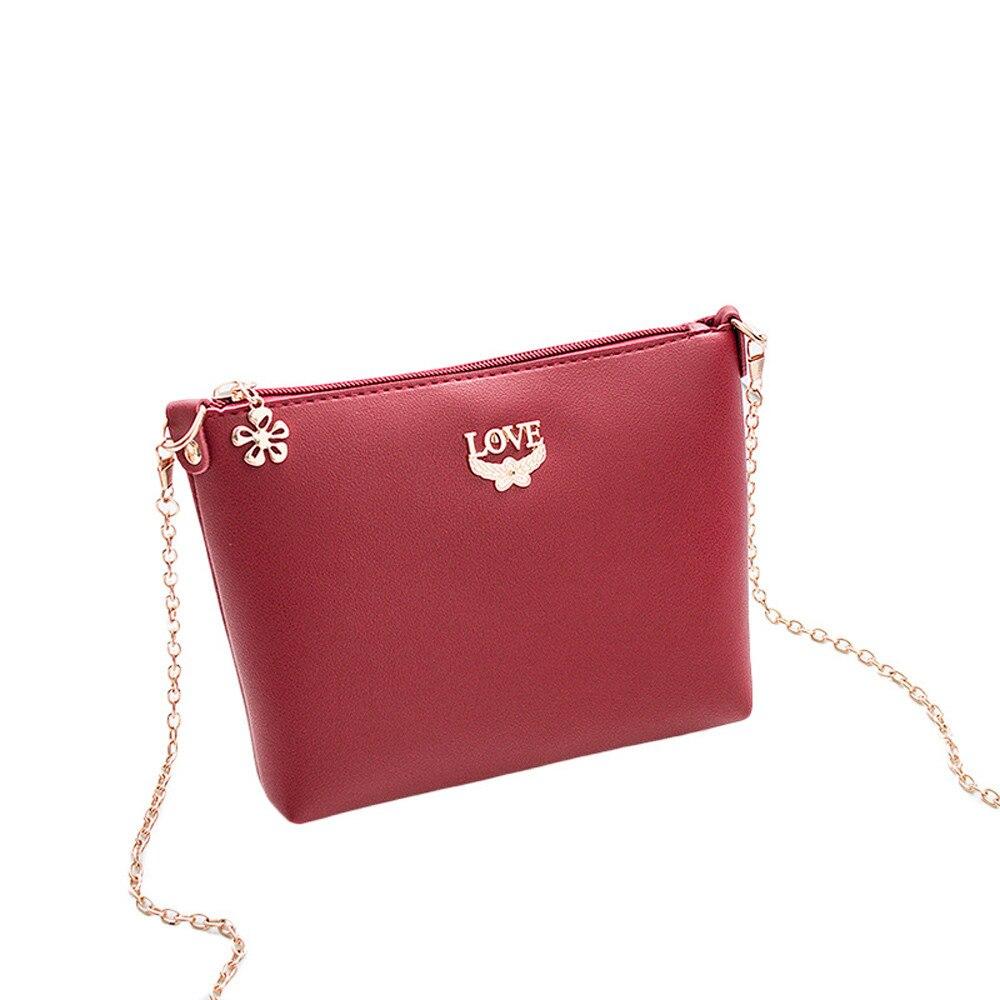 Women Japan and Korean Style Single Flowers pattern Shoulder Bag Rivets Oblique Cross Bag Litchi Grain Love Letter B25