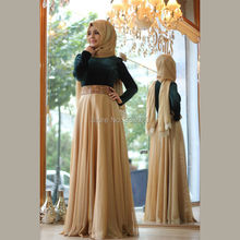 Velvet Top Chiffon Bottom Two Tone Hijab Muslim Evening Dress Elegant Formal Gown with Crystal Belt Robe de soiree