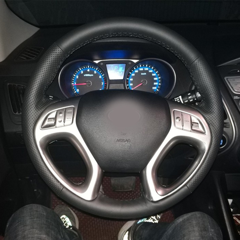 Free Shipping High Quality Cowhide Top Layer Leather Handmade Sewing Steering Wheel Covers Protect For Hyundai Ix35/Tucson 2