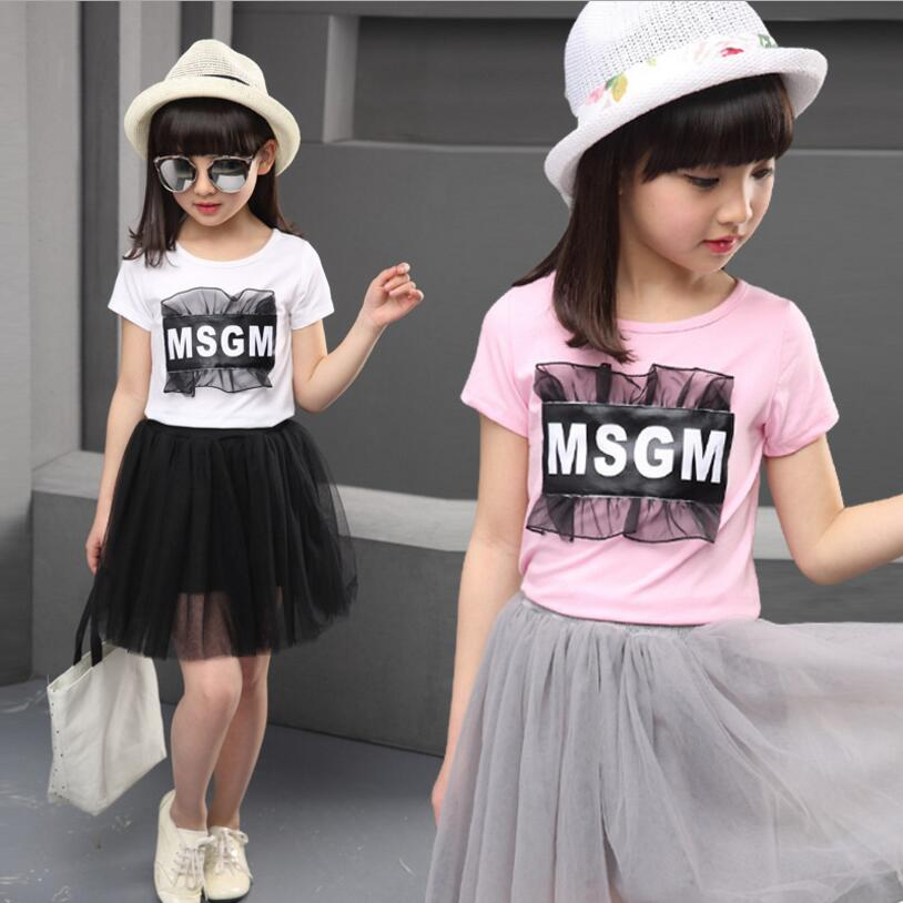kids clothes new summer girls skirt suits 2pcs letters short sleeve O-neck t shirt+mesh mini skirt causal girl sets 2017 new style fashion mom and girls short sleeve letter t shirt dot black skirt set summer kids casual clothes parenting 17f222