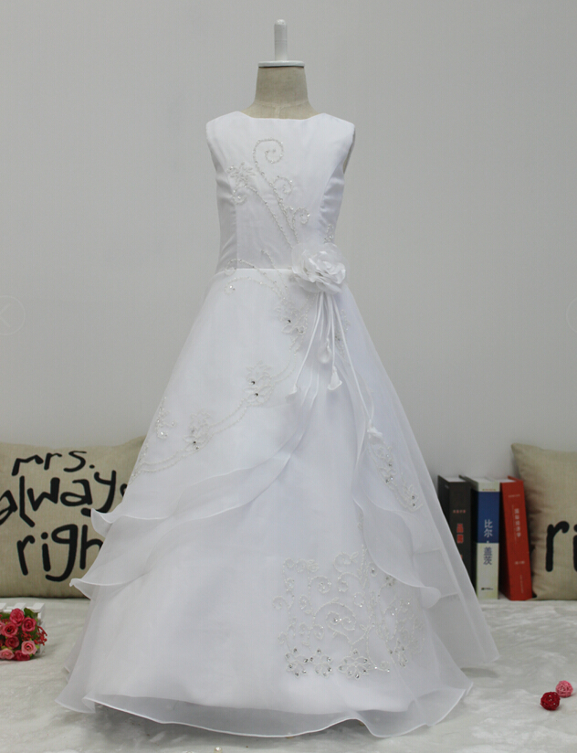 5e41e34da29 Little Big Girls Embroidered Beaded Flower Girl Birthday Party Dress with  Petticoat-in Flower Girl Dresses from Weddings   Events on Aliexpress.com  ...