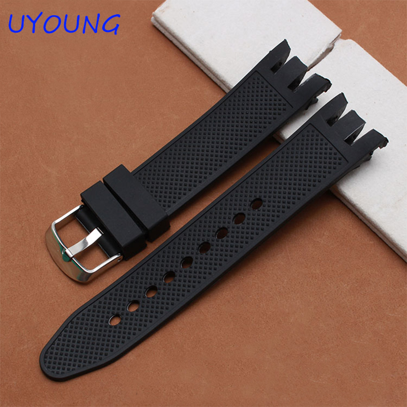 Quality rubber watchband 21mm replacement silicone strap for Swatch YRS401|402|411|409|413 black braceletQuality rubber watchband 21mm replacement silicone strap for Swatch YRS401|402|411|409|413 black bracelet