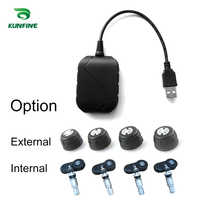 KUNFINE USB Android TPMS Tire Pressure Monitoring System Display Alarm System 5V Android Navigation Car Radio With 4 Sensors