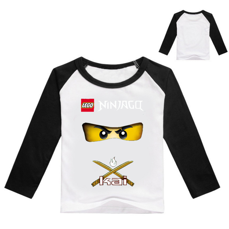2018 Boys Ninja Ninjago Cartoon 3D T-shirt Clothing Summer Kids Long sleeves Clothes Batman T shirt Boys Girls Tops tees grey crossed front design cut out long sleeves t shirt
