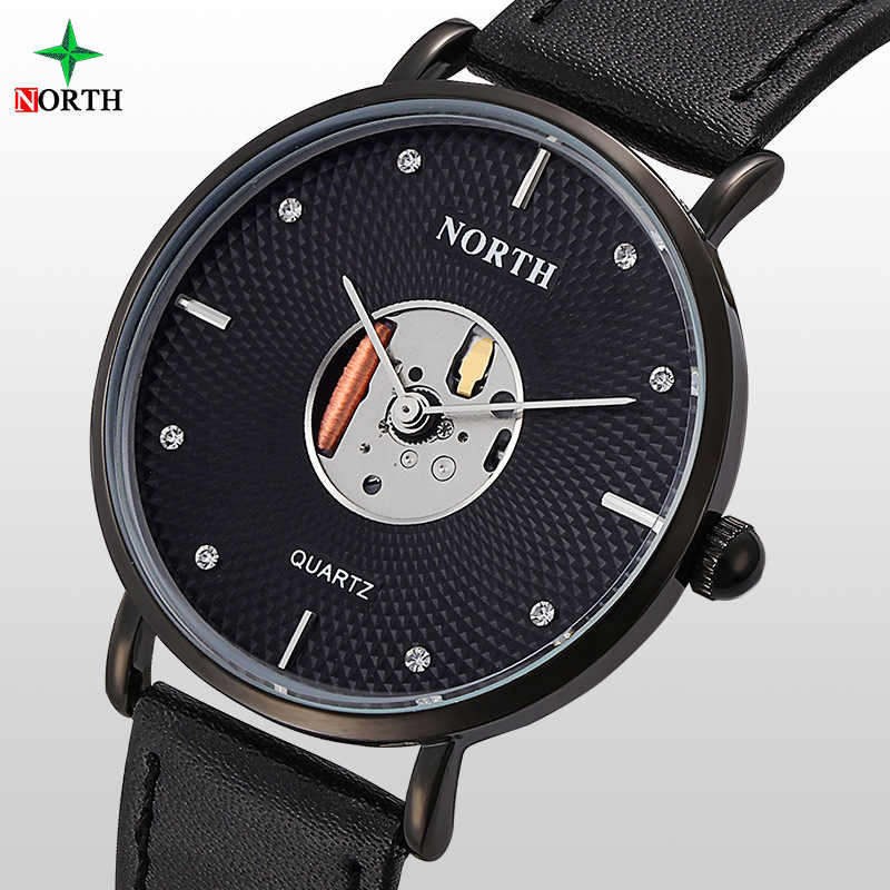 Hommes robe montres luxe nord marque Ultra mince or montre-bracelet strass minimalisme affaires mâle horloge décontracté cuir