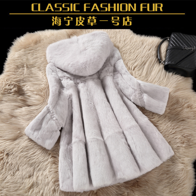 Whole skin real rabbit fur winter coat outwerwear women A line loose fit natural fur coats with a hood 2017 autumn
