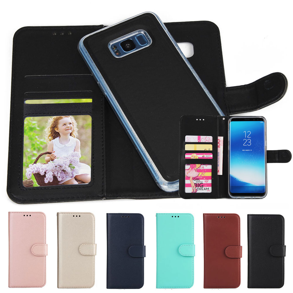 new product 939f8 95f80 For Samsung Galaxy S8 Wallet Case New Leather Bag Flip Magnetic Removable  Shockproof Phone Cases ...