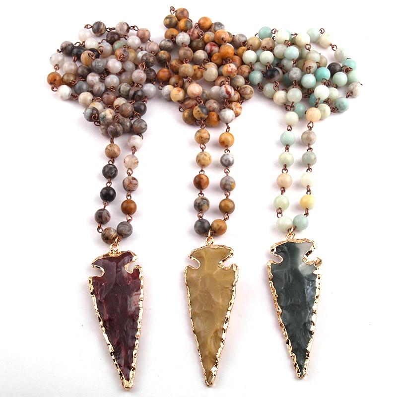 MOODPC אופנה Crazylace בוהמיה תכשיטים שרשרת רוזמרין שרשרת תליון חץ אבן טבעית Halsband