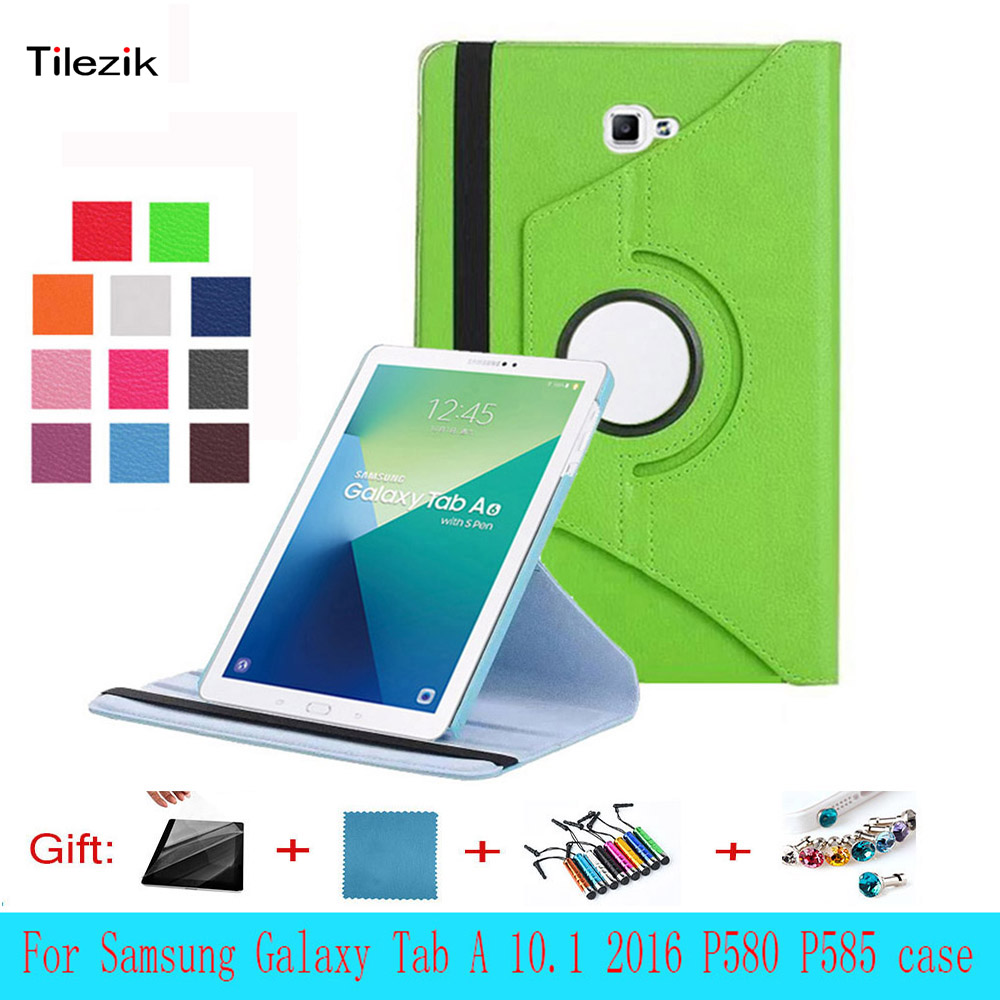 2016 New 360 Rotating Litchi skin PU Leather case cover para For Samsung Galaxy Tab A A6 10.1 P580 P585 Leather Tablet Cover PC