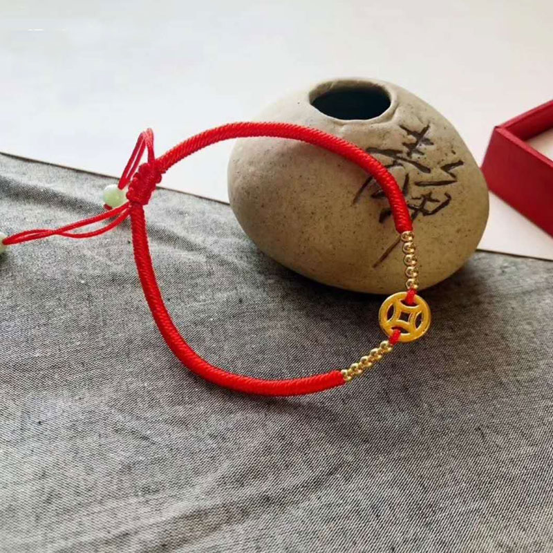 все цены на Pure 24K Yellow Gold Coin Red String Weave Bracelet Bring Lucky