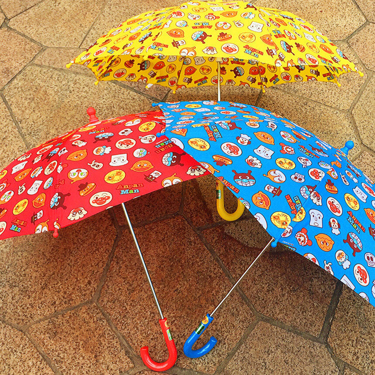 Children Umbrella Baby Rain Gear Waterproof Long Handle Umbrella Kindergarten Student Cartoon Bread Super Man Pattern Umbrella