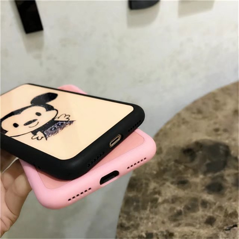 LIHNEL Cute Mickey Minnie Mouse Couple Cartoon Pink Soft TPU Case Cover for iPhone X 7 7Plus 6/6S Plus 6 Plus 8 8Plus Cape