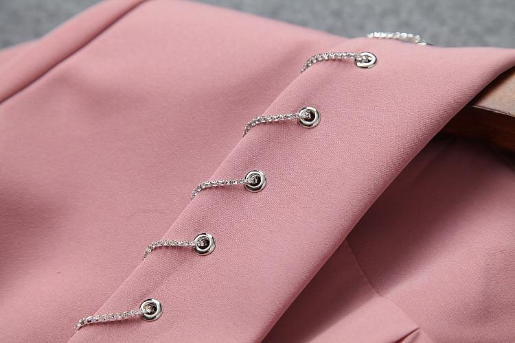 Blazer Women 2019 Spring Summer New Shawl Collar Chain Half Sleeves Single Button Career Small Jacket Female S-XL