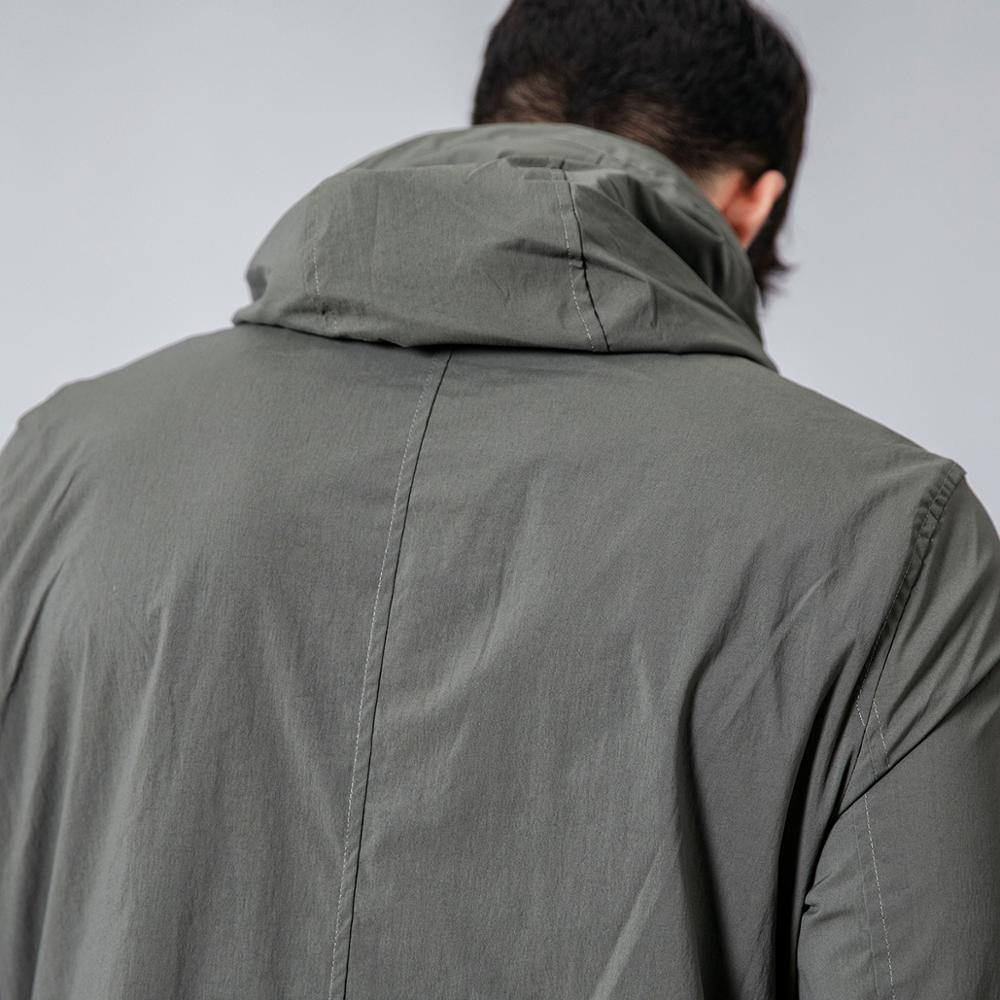 Slim Fit Pocket Hooded Trench Coats  2