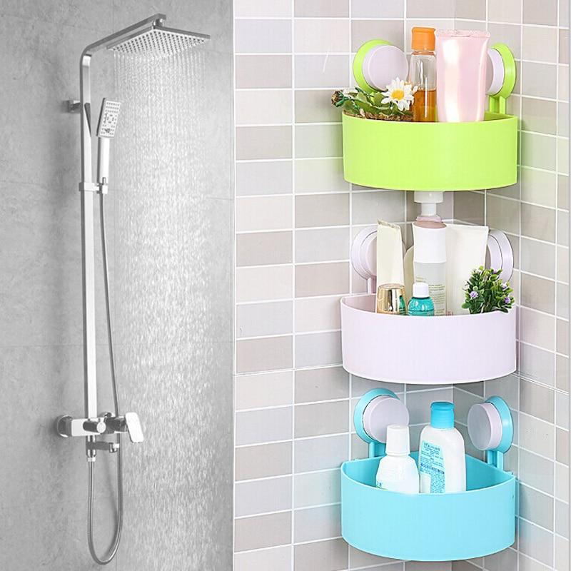 Bathroom Shelf Shampoo Holder Toothpaste Toothbrush Corner Triangle Shelf Double Sucker Storage Rack for Kitchen Bathroom