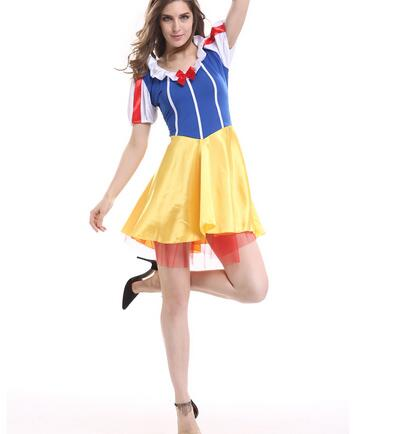 1set/lot woman fashion satin short snow white dress Adult Snow White Costume Cosplay Princess Dress