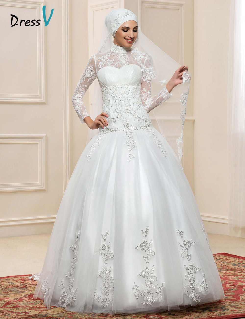 Dressv Muslim Wedding Dresses Lace Long Sleeves High Neck Arabic ...