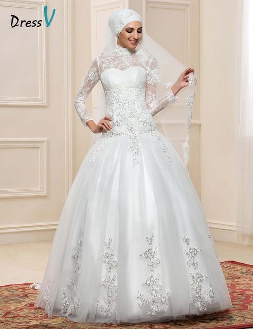 Long Sleeve Muslim Turtleneck Wedding Dresses Ball Gown 2017 Hijab Sequin  Lace Applique Vintage Dubai Bridal Gowns Islam Kaftan-in Wedding Dresses ...